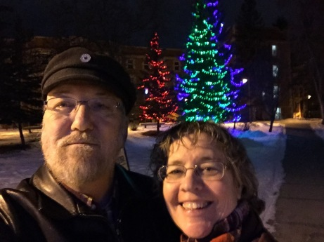 Ken and Christina on a romantic winter walk (he's learning!) on the University of Alberta campus.