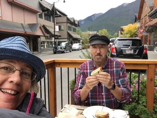 Enjoying an outdoor snack in the Rockies.