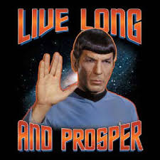Mr. Spock with the Vulcan Salute and Vulcan greeting salutation.