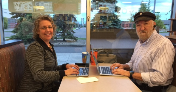 Christina and Ken writing Blog 16 at their neighbourhood Tim Hortons cafe!