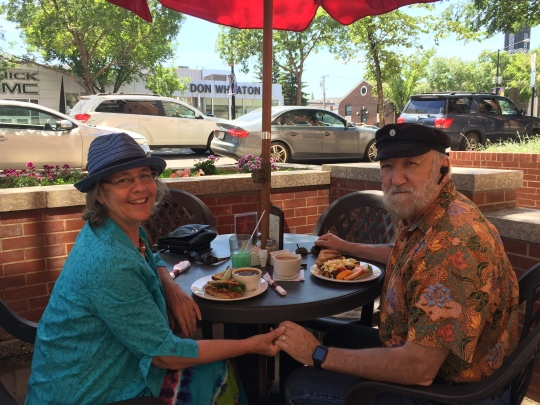 Christina and Ken enjoy an outdoor Sunday brunch at Artisan restaurant on Whyte Avenue in Edmonton.