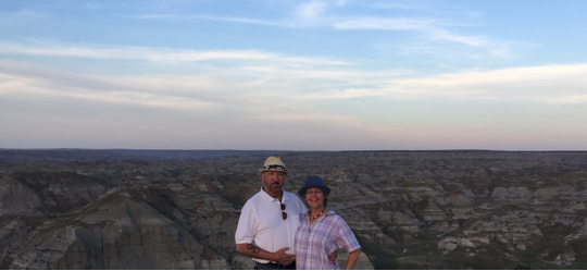 Ken and Christina at the spectacular Dinosaur Provincial Park in southern Alberta in midst of a Cree Elder guided U of A trek to indigenous sacred sites.