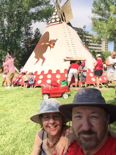 Christina and Ken outside the indigenous tipi during Canada Day July 1 at the Alberta Legislature grounds. Canada=150 years. Indigenous peoples = 15,000 years. New chapter ahead.
