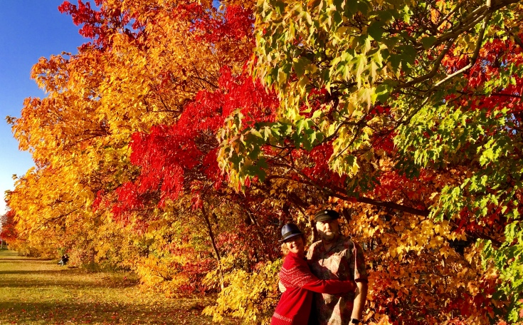 Christina and Ken on our annual pilgrimage to visit the Chinese Amur Maple trees along 97th Street, Edmonton.