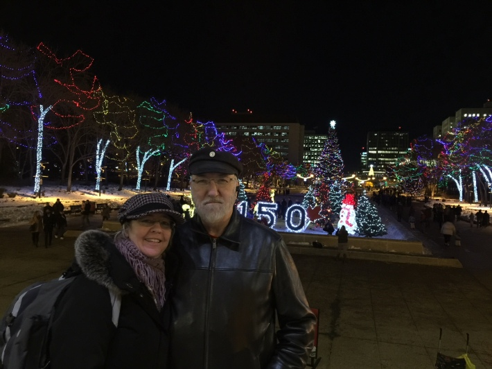 Christina and Ken at the annual Alberta Legislature Christmas lights switch on night performed by Alberta's Premier Rachel Notley.
